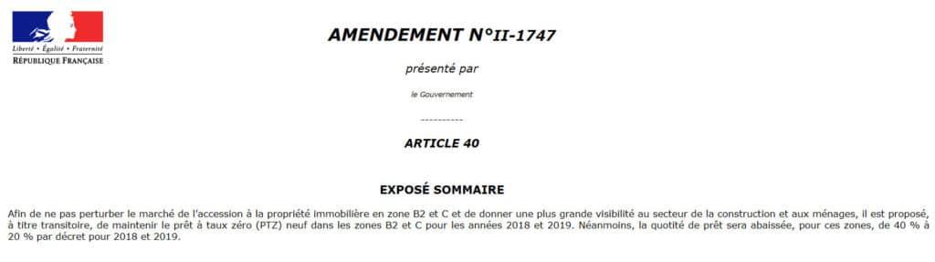 Le texte de loi du PTZ 2018