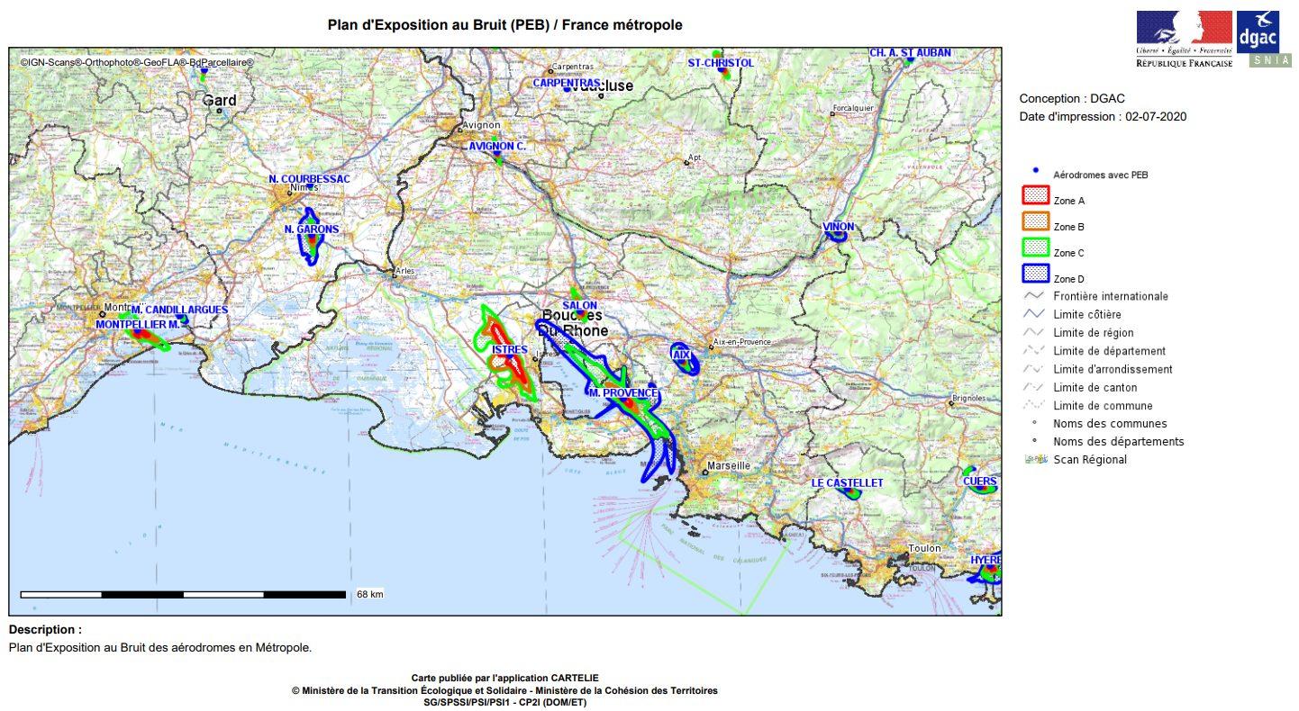 Exemple d'expositon au bruit pour la région PACA